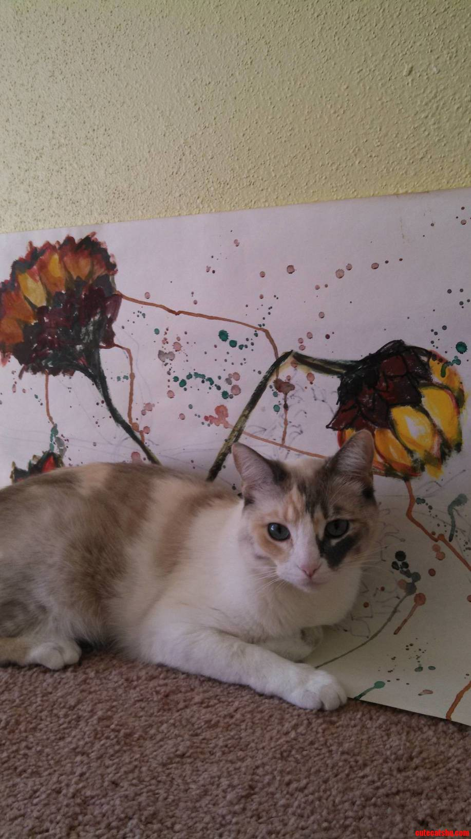 My Cat Apparently Also Appreciates My Great Aunts Artwork