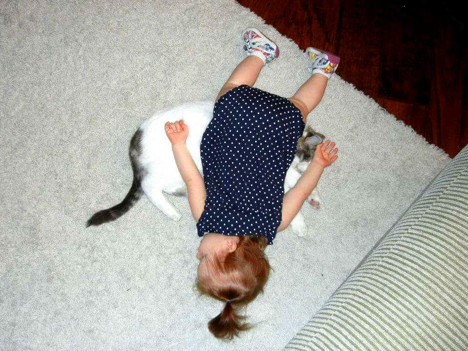 My cousins daughter and cat…