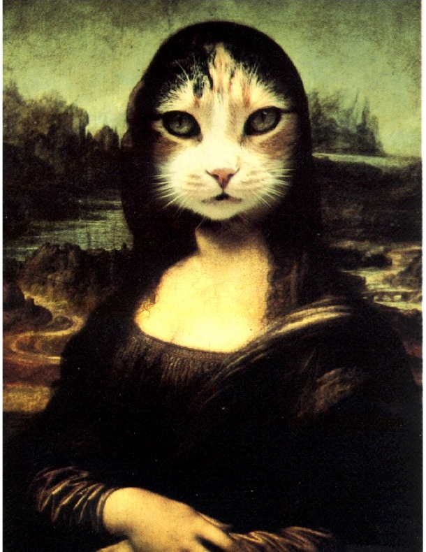 Sharing cat postcard art with sub cats readers. this mona lisa cat is more beautiful than the actual painting.