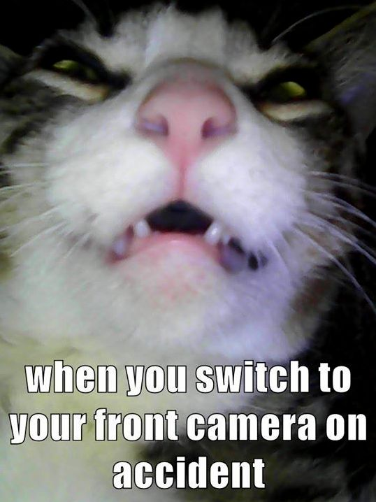 When you switch to your front camera on accident